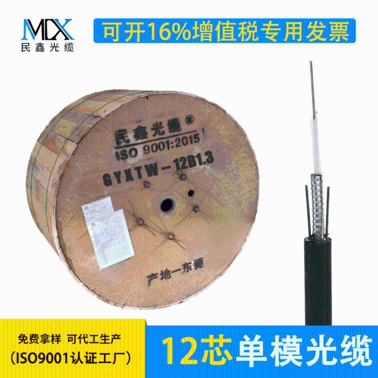 厂家直销12芯光缆 GYXTW-12B1 室外中心束管式铠装12芯单模光纤线