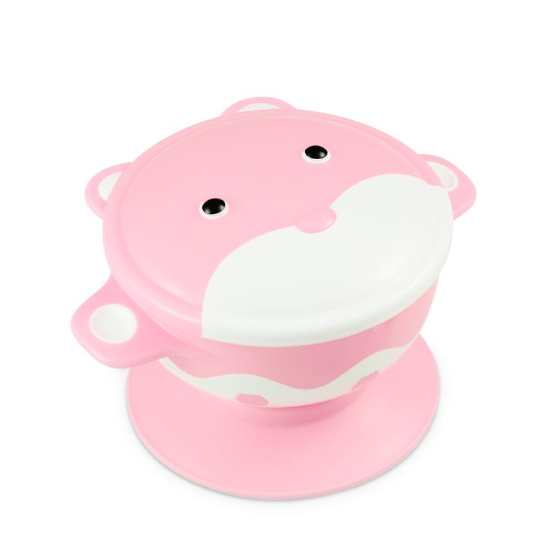柚芽 小浣熊儿童餐具 婴儿硅胶防摔碗吸盘碗辅食碗勺套装宝宝餐具