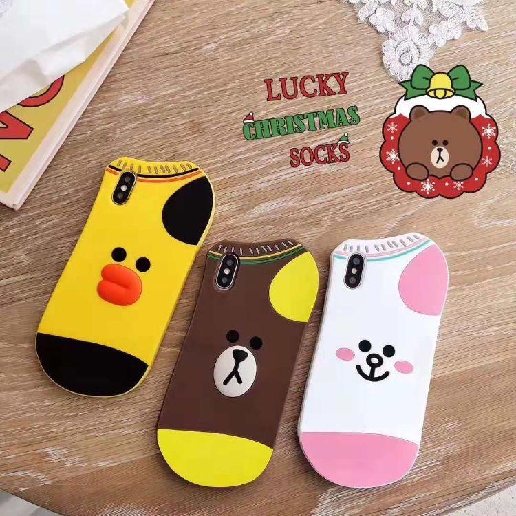 创意布朗熊/可妮兔/沙粒鸡袜子袜子硅胶壳小黄鸭硅胶手机套抖音