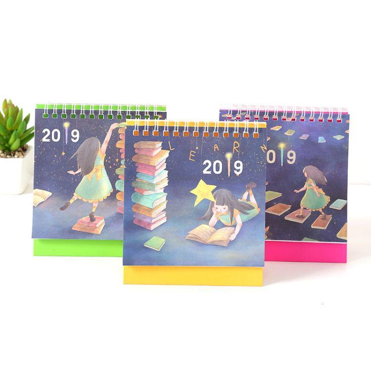 2019年卡通小女孩小台历创意简约桌面计划本式记事日历计划本定制