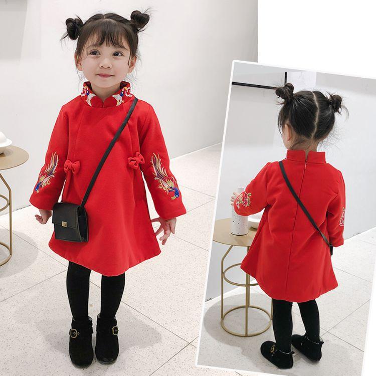新年装!女童2018新款女洋气中小童民族风加厚唐装冬季红色旗袍