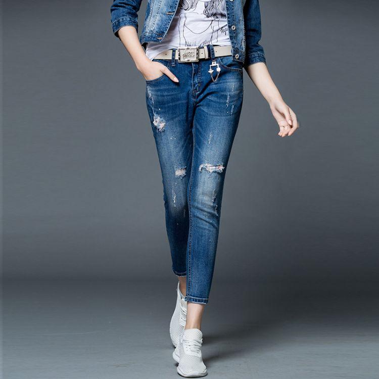 801 美杰斯高端牛仔裤女 宽松新款破洞垮裤 十三行女装一件代发