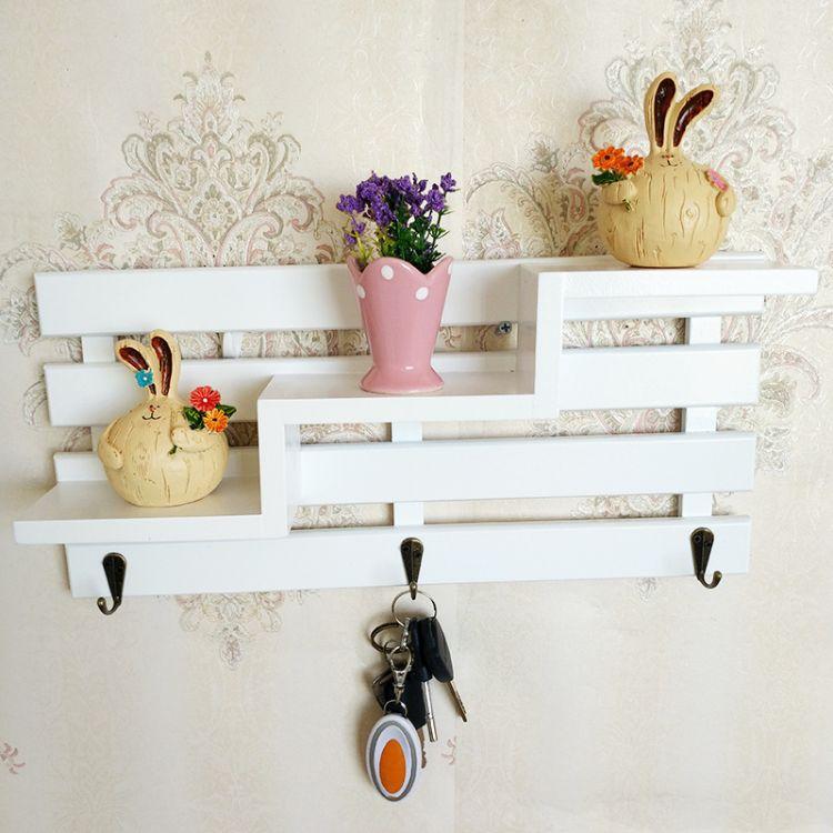 美式复古实木壁挂置物架钥匙挂衣帽服装架木质挂钩搁板挂饰钩批发