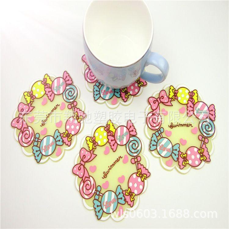 PVC软胶糖果杯垫9款组合餐垫硅胶隔热桌垫杯垫餐桌垫西餐垫隔热垫
