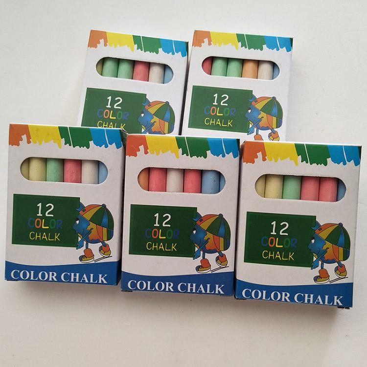 石膏粉无尘彩色粉笔 12支盒装儿童画板粉笔教学用具配套品 批发
