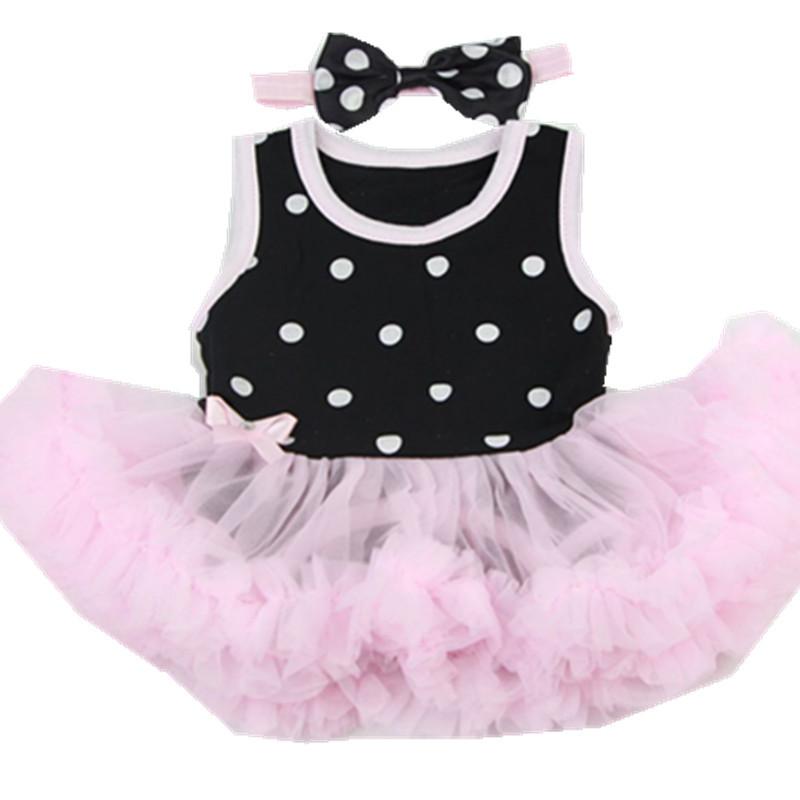 Newborn Doll 热卖新款22-23寸重生娃娃连体裙黑白点2件套 纯棉