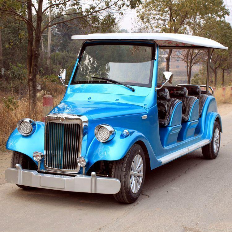 合肥厂家直销8座宝蓝色四轮电动老爷车电动观光车电瓶车巡逻车