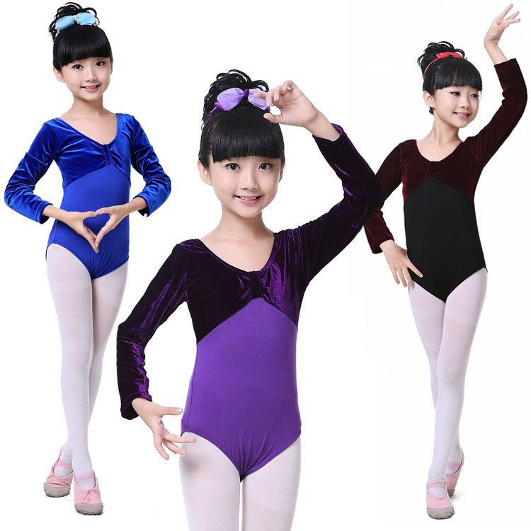 儿童舞蹈服装练功舞服女童春秋季练习舞服金丝绒连体服演出服批发