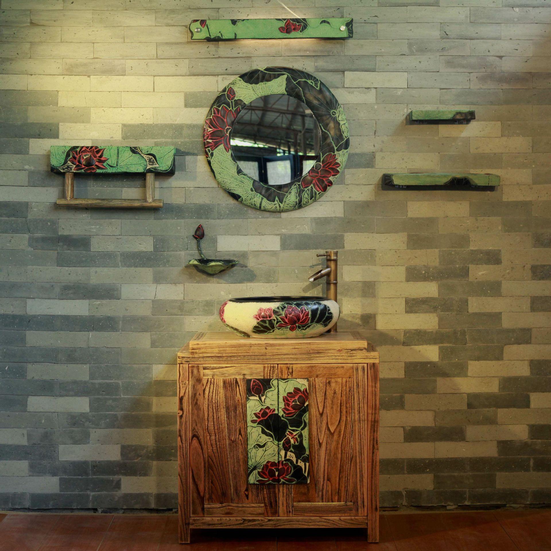 可定制中式复古实木洗手盆浴柜组合 落地浴室柜洗脸盆卫浴用品