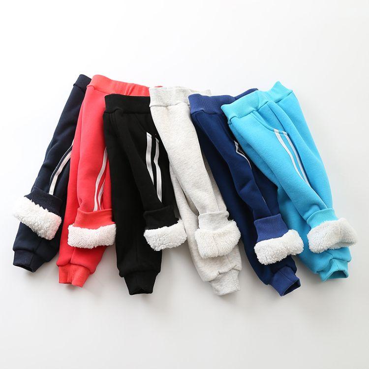 2018年新款儿童长裤童装童裤纯色纯棉棉裤可开裆拉条休闲运动裤