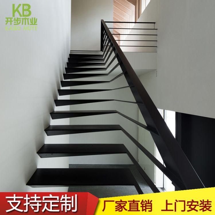 上海厂家直销钢木楼梯红橡木榉木楼梯工业风格楼梯免费测量安装