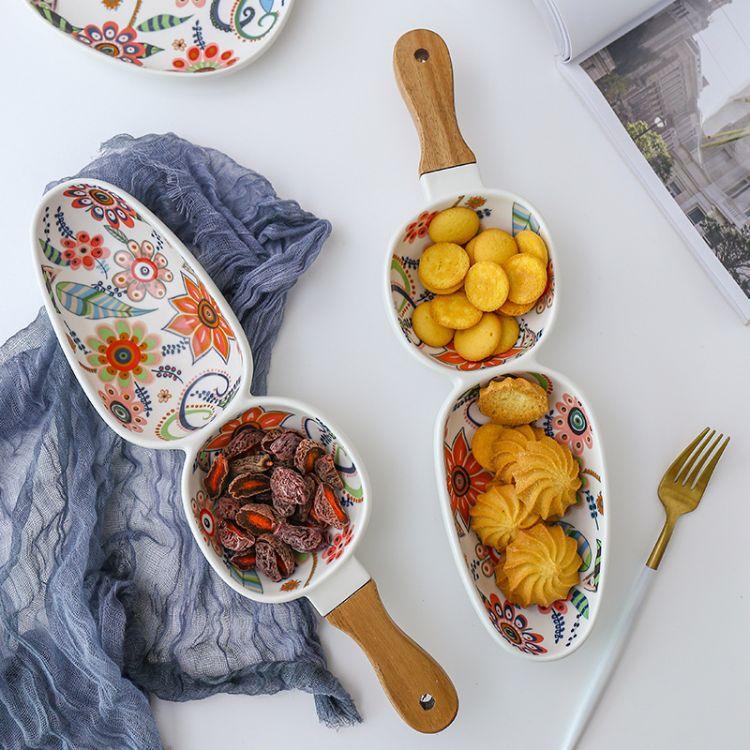 蝶恋花系列 高温哑光釉中彩创意陶瓷餐具相思木把手陶瓷盘家用