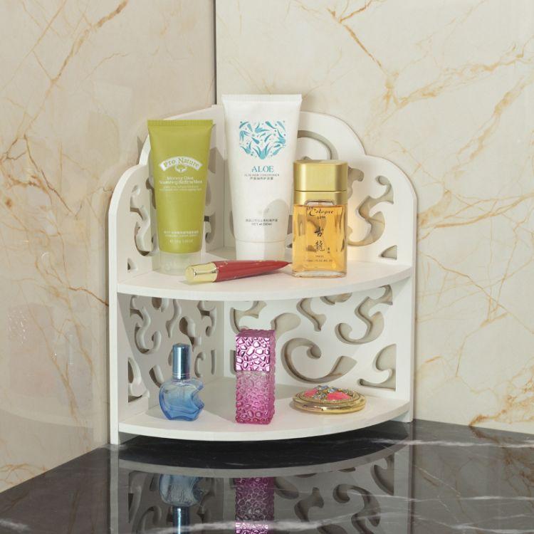 木塑板置物架卫生间落地整理架 浴室洗漱台化妆品收纳架子