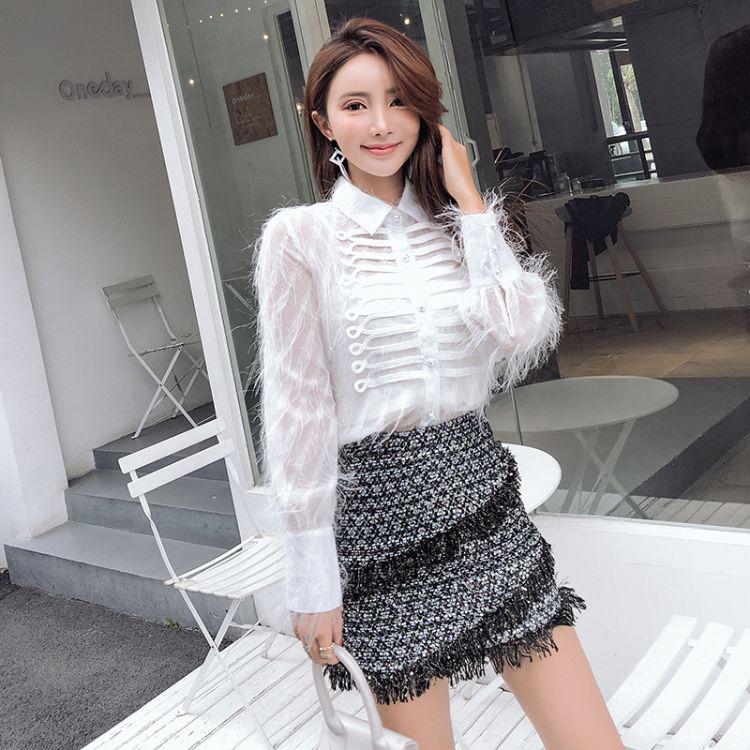 宫廷衬衫女长袖秋装新款优质复古流苏毛毛白衬衣短裙两件套