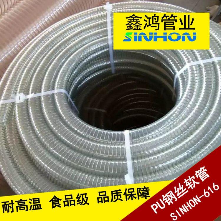 1寸1.5寸2寸3寸4寸食品级PU透明钢丝管 钢丝增强透明输酒软管