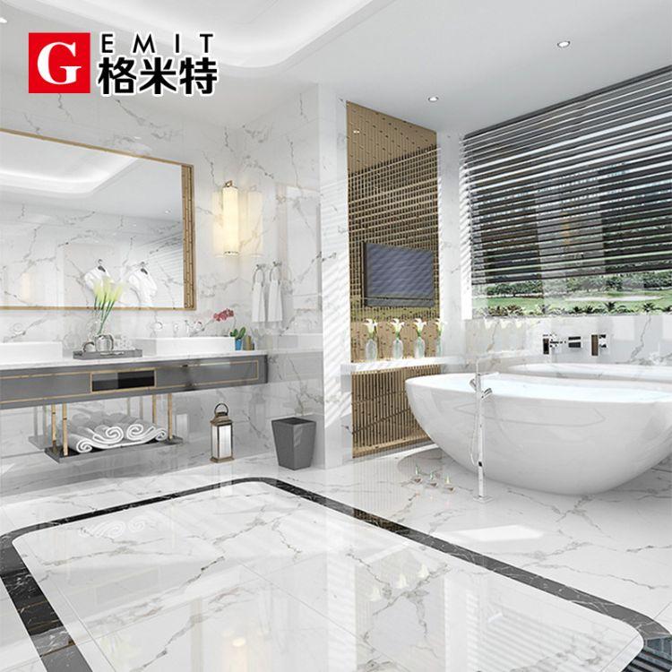 爵士白通体大理石瓷砖简约现代客厅背景墙浴室防滑地砖600x1200