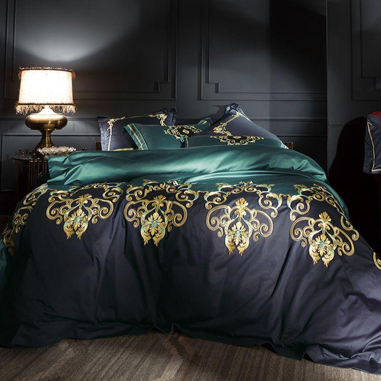 罗曼100支500T贡缎别墅样板房刺绣纯棉床上用品全棉四件套批发