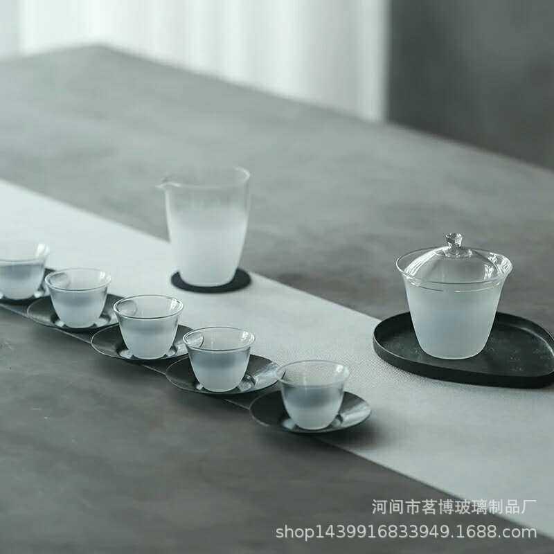 日式云雾玻璃盖碗玻璃茶具礼盒套装 磨砂玻璃公道杯玻璃泡茶碗