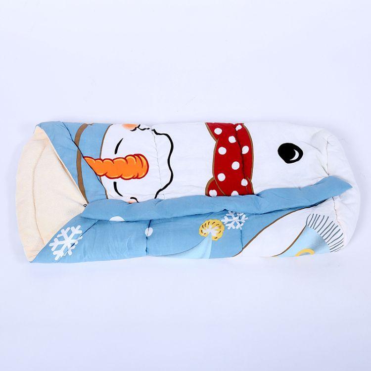 新春新款可爱卡通蓝色小雪人抱被户外保暖防风婴幼儿抱被 防踢被