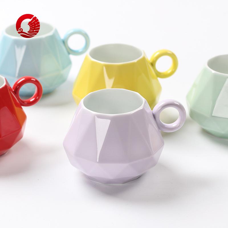 【钻戒杯】高档陶瓷彩色釉杯 陶瓷马克杯 水杯咖啡杯促销礼品定制