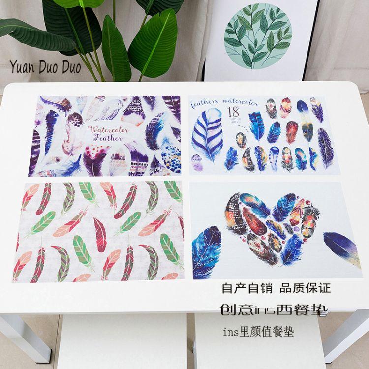 pvc餐垫 特斯林羽毛西餐垫隔热垫碗垫子家用耐热北欧餐布盘垫