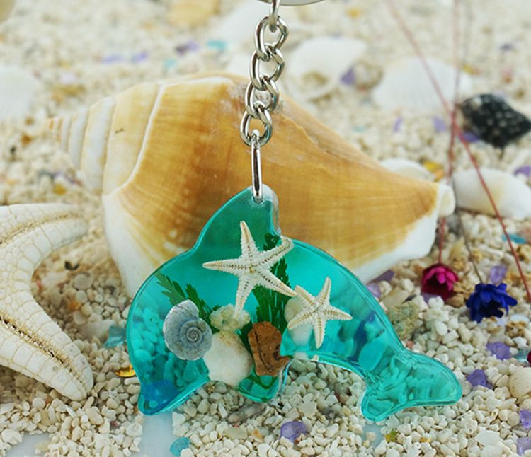 创意可爱海豚钥匙扣 海边旅游纪念品天然海星树脂琥珀钥匙扣