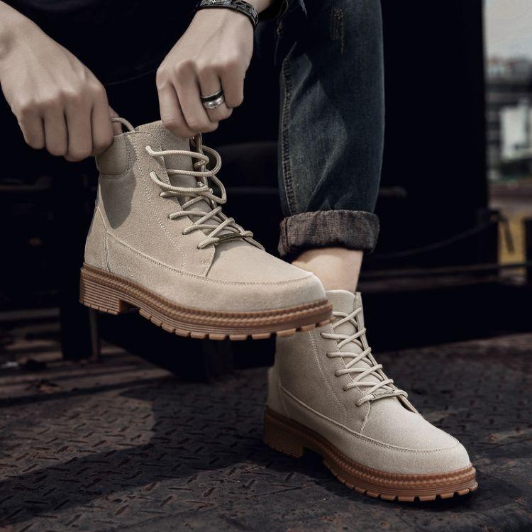 马丁靴男潮百搭中帮沙漠靴子男高帮军靴鞋子短靴英伦风工装靴批发