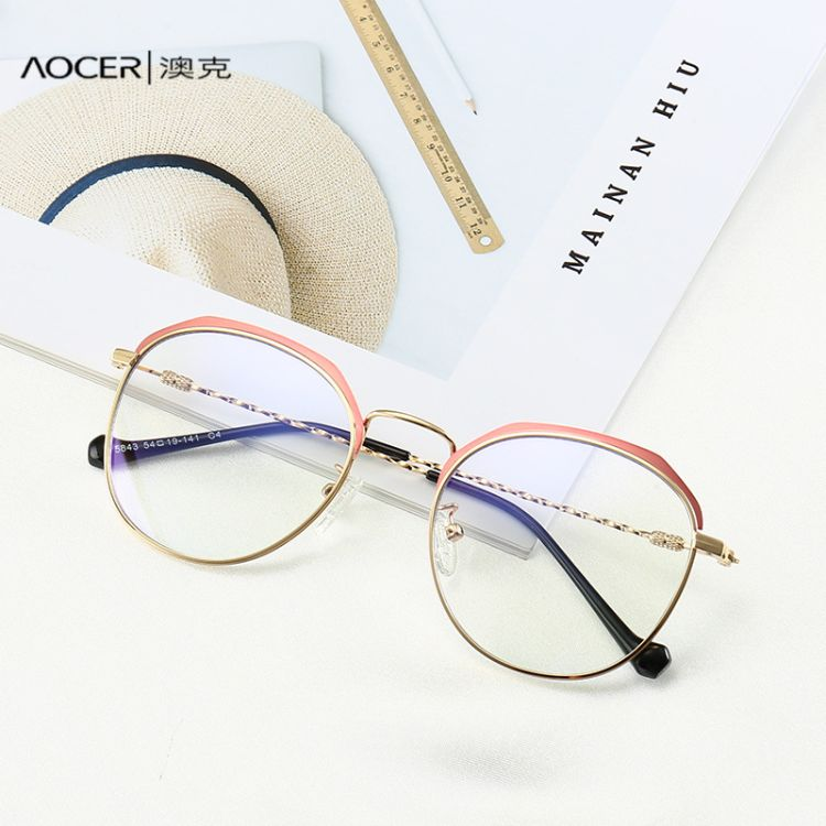新款防藍光眼鏡架批發 復古圓形近視眼鏡框男女士同款熱賣款5843