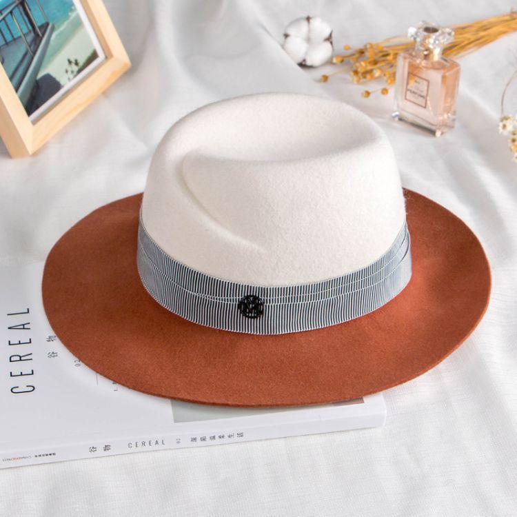 秋冬新款拼色羊毛呢帽子韓版英倫禮帽寬檐雙m字母復古爵士帽時尚
