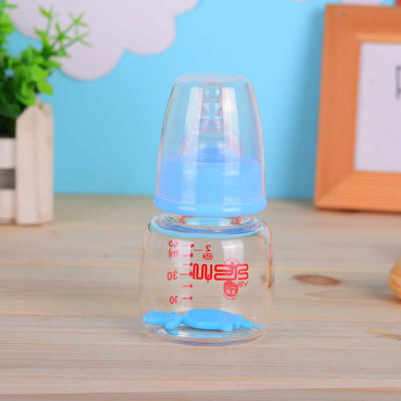 标口径玻璃果汁奶瓶 新生儿果汁奶瓶 可爱迷你60ml奶瓶厂家批发
