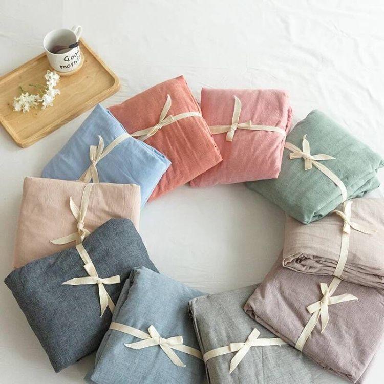 现货全棉色织水洗棉布料纯色素色纯棉床笠床品面料批发厂家直销