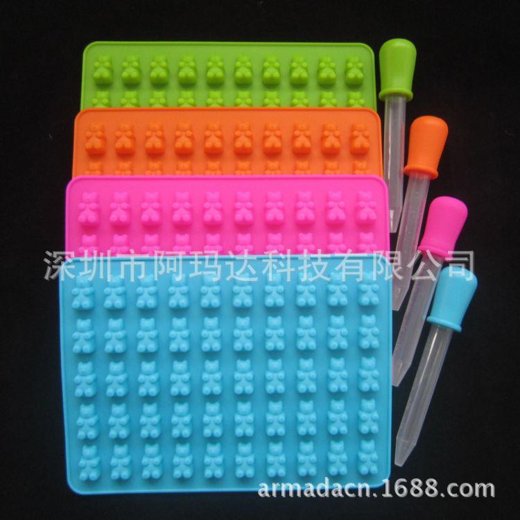 50孔卡通小熊硅胶模 硅胶冰格 巧克力模具 橡皮糖模具糖果模具