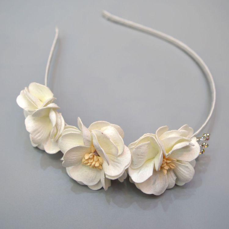跨境速卖通热卖白色花朵发箍水晶满天星韩国绒立体花朵头箍头扣