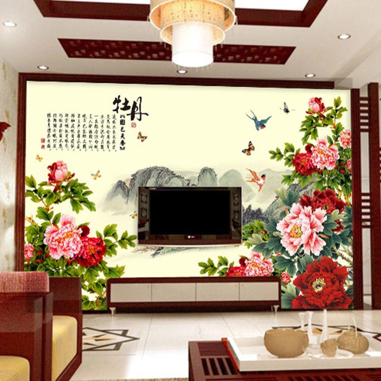 捷盛美3d无缝墙纸大型壁画电视背景墙壁纸壁画客厅中式墙布牡丹