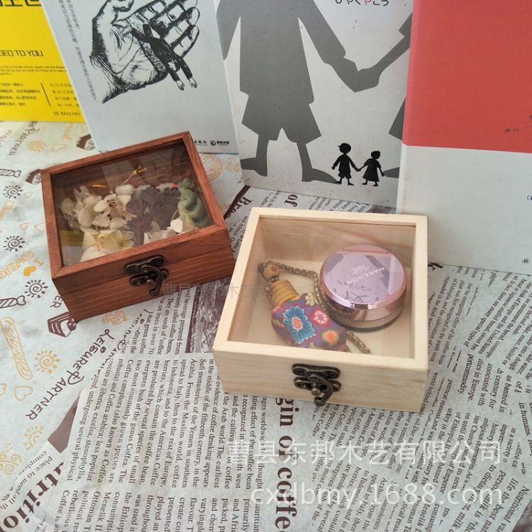 永生花木盒 玻璃盖透明盒子 多肉包装礼品木盒 鲜花礼盒厂家现货
