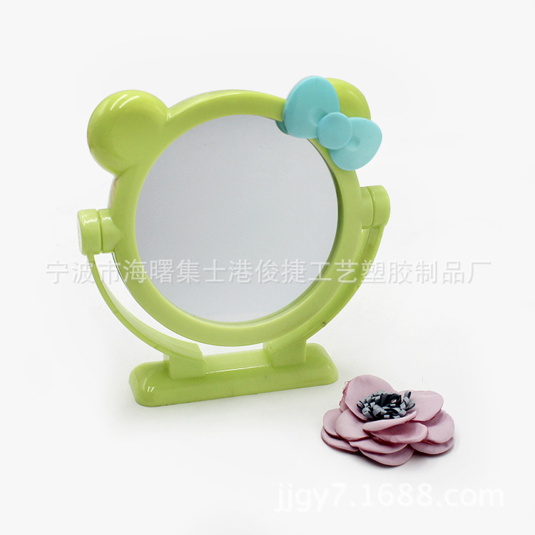 宁波塑料化妆镜厂 日韩双面台式塑料化妆镜 可旋转补妆双面化妆镜