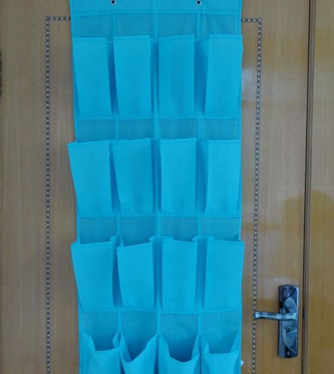 批发 16格蓝色无纺布收纳挂袋 门后鞋挂袋 储物挂袋 杂物收纳挂袋