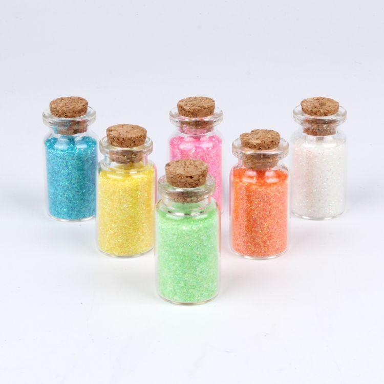 新款pet玻璃瓶装幻彩金葱粉 美甲装饰15克玻璃瓶opp袋装七彩金粉