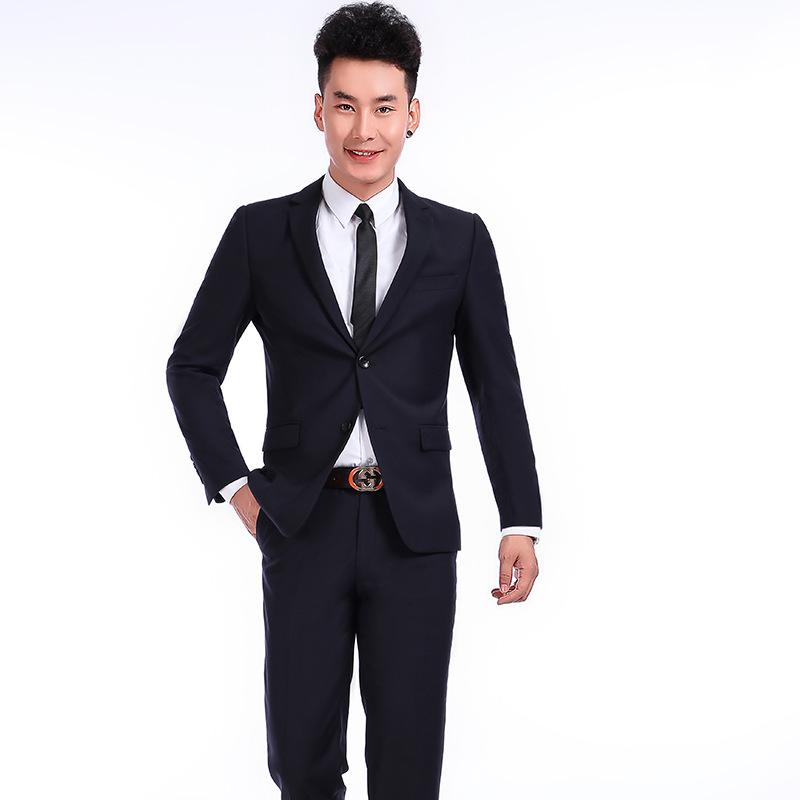 2018新款男士修身西服套装 商务职业套装 修身男士商务正装供应