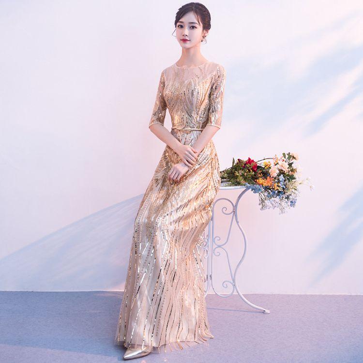 金色晚礼服女2018新款冬季气质优雅显瘦派对主持人晚宴礼服裙长款