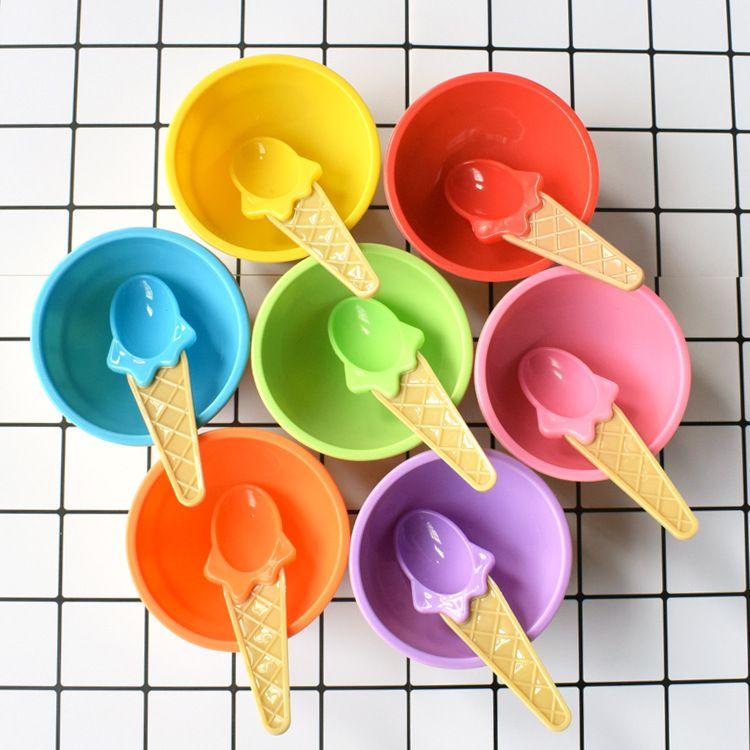 冰淇淋搅拌碗 DIY手作史莱姆 耐摔防烫手可爱冰淇淋雪糕塑料碗