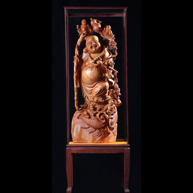 弥勒笑佛根雕木质工艺品家居装饰品崖柏客厅办公场所摆件 工艺品