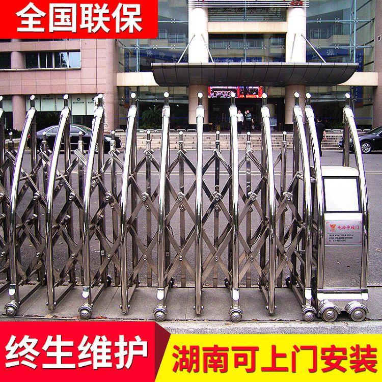 防爆大门电动遥控伸缩门 铝合金单位大门带门禁系统套装