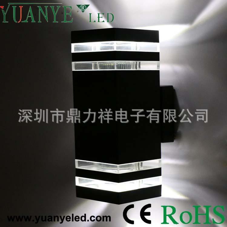 18W方形带透明罩双头发光壁灯外壳 15W亮银烤漆高端防水壁灯外壳