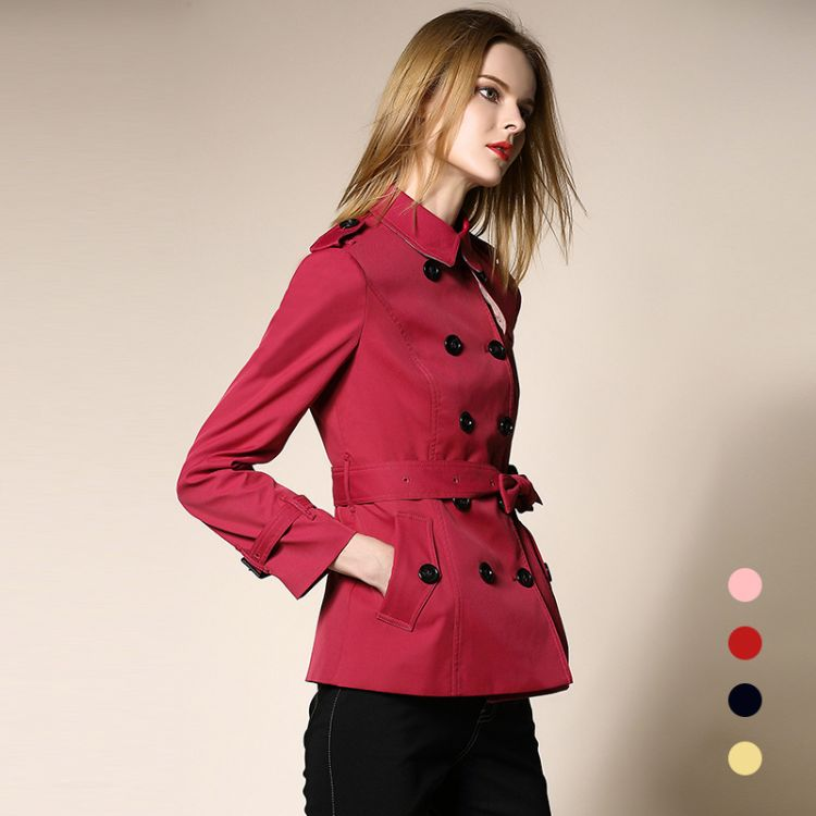 风衣女短款秋装新款长袖女外套时尚修身百搭 高端品牌工厂直销