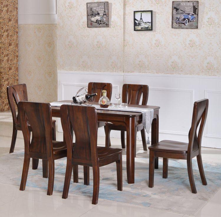 餐桌 实木 餐厅家具批发 胡桃木餐厅组合桌椅组合批发