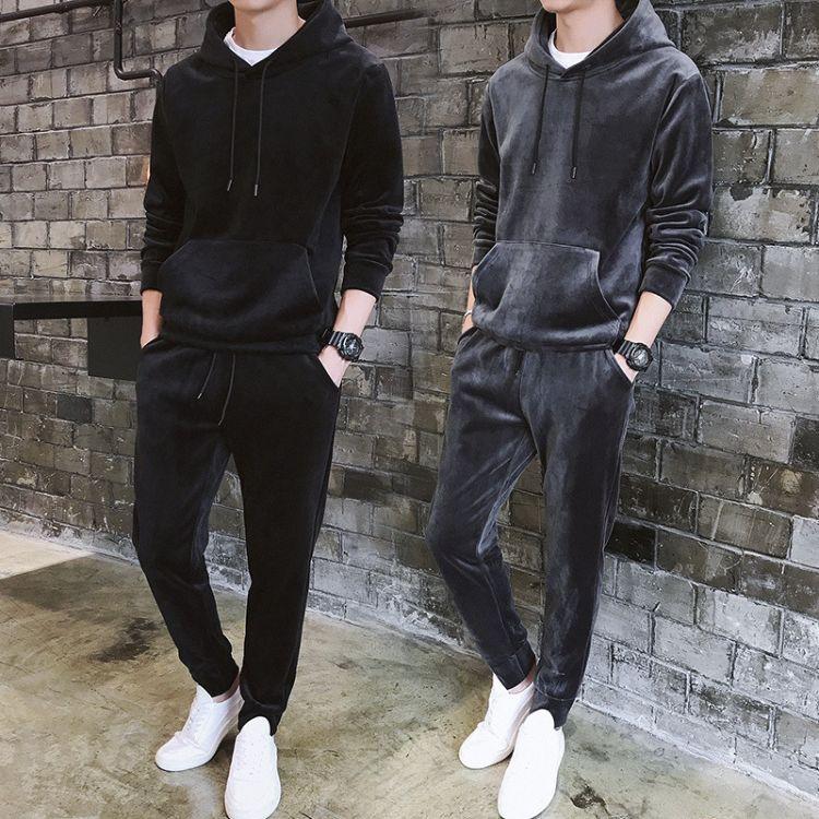 香港潮牌2018秋季新款连帽卫衣套装男休闲运动套装丝绒加厚两件套