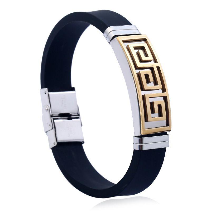 速卖通热销时尚不锈钢硅胶手环手链钛钢长城纹手链厂家批发