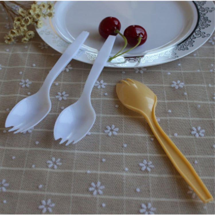 一次性塑料刀叉勺 两用叉勺 外卖打包叉勺  蛋糕叉勺加厚叉勺