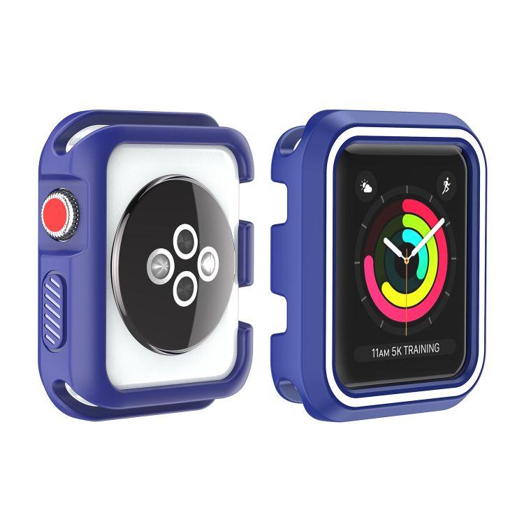 適用于蘋果表帶表殼適用AppleWatch雙色硅膠表殼白底撞色手表表帶